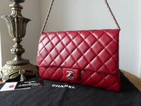 Chanel Classic Clutch With Chain Flap Bag in True Red Caviar with Silver Hardware