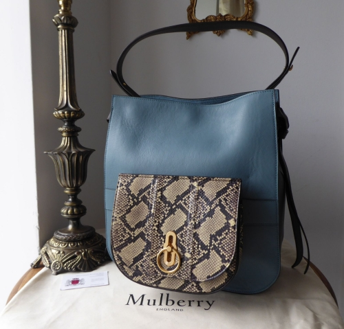 Mulberry Amberley Hobo in Dark Frozen, Chocolate & Cream Silky Calf & Snake