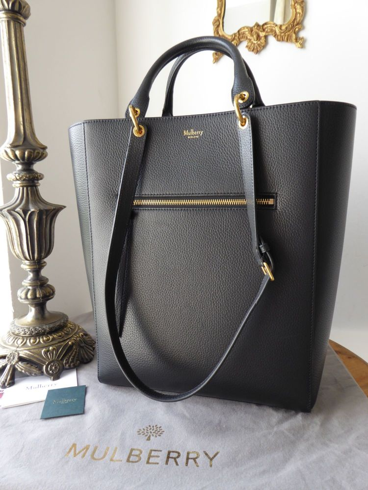 Mulberry Large Maple Tote in Black Small Classic Grain
