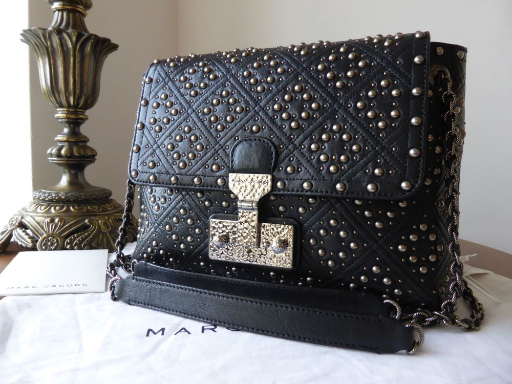 Marc Jacobs Large Baroque Studded 'The Single' in Black Glazed Lambskin - N