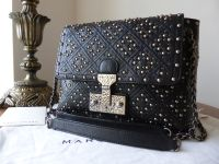 Marc Jacobs Large Baroque Studded 'The Single' in Black Glazed Lambskin - New