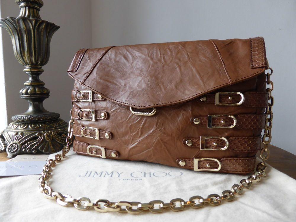 Jimmy Choo Brix Shoulder Clutch in Cognac Leather and Elaphe Snakeskin