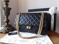 Chanel 226 Reissue Mademoiselle Flap in Distressed Black Calfskin with Antiqued Gold Jewellery Chain