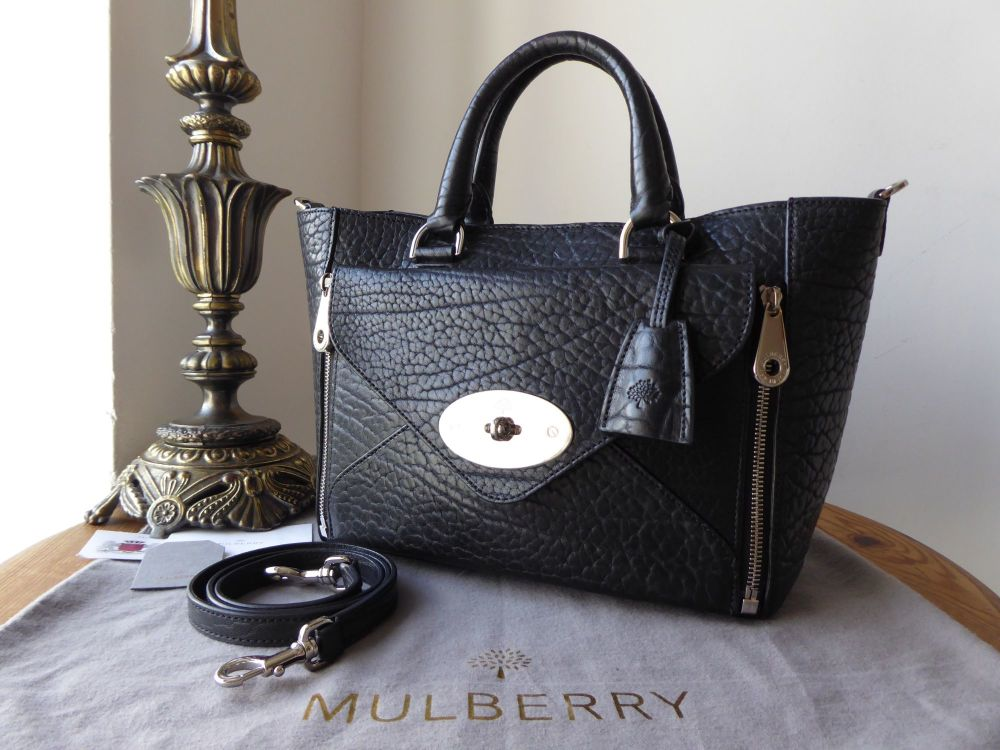 Mulberry Small Willow Tote in Black Shrunken Calf with Silver Nickel Hardwa