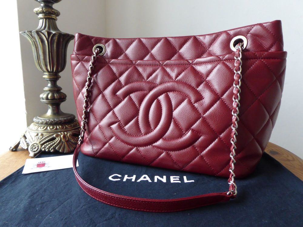 Chanel Timeless Soft Tote in Bordeaux Red Caviar Leather with Silver Hardwa
