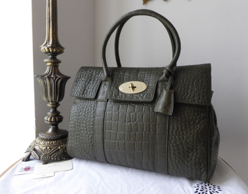 Mulbery Classic Bayswater in Nettle Green Croc Printed Nappa