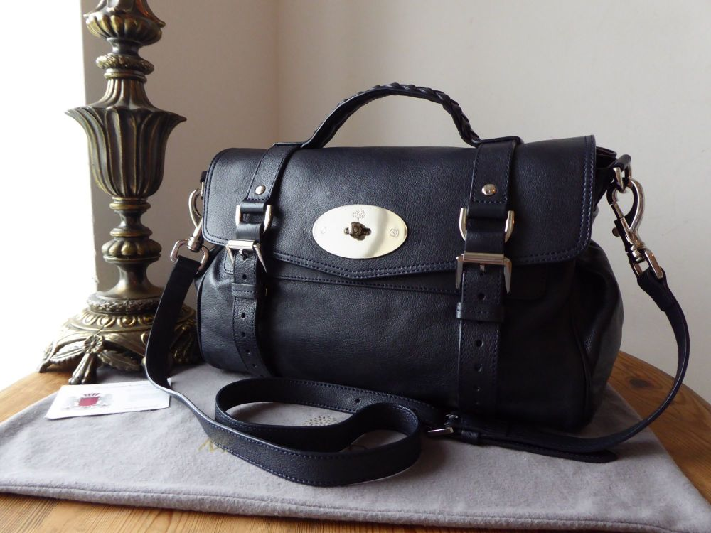 Mulberry Regular Alexa in Midnight Blue Polished Buffalo Leather with Silve