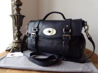 Mulberry Regular Alexa in Midnight Blue Polished Buffalo Leather with Silver Nickel Hardware - SOLD
