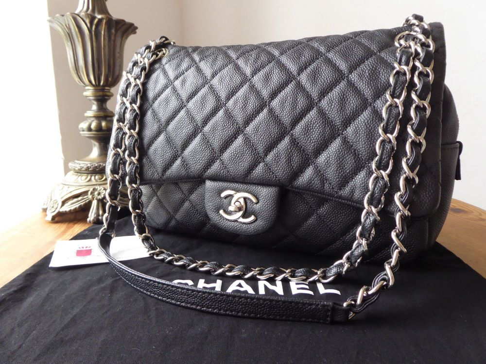 7a08bc0fb5d3 Chanel Casual Journey Jumbo Easy Flap Bag in Matte Black Caviar with Silver