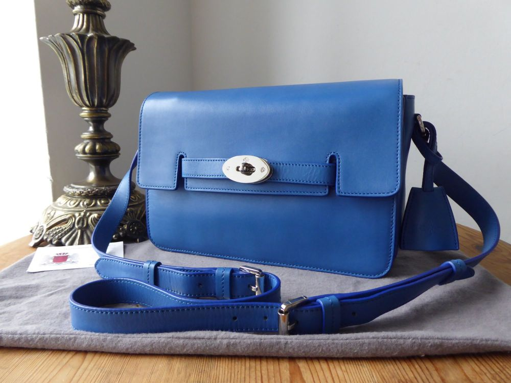 Mulberry Medium Bayswater Shoulder Bag in Bluebell Blue Silky Classic Calf