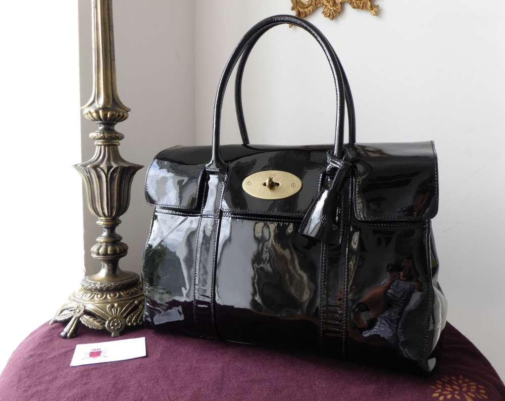 Mulberry Classic Bayswater in Black Patent Leather with Brass Hardware