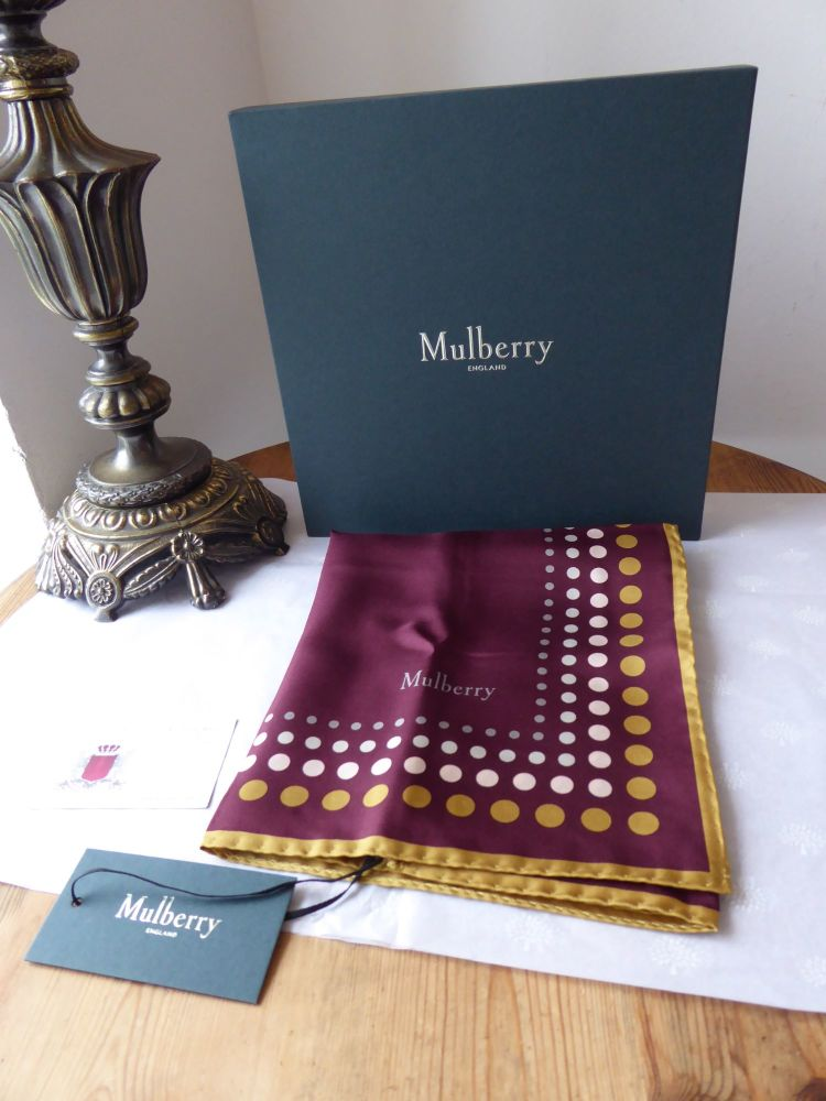 Mulberry Dots Frame Small Silk Square in Oxblood - New