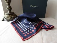Mulberry Dots Frame Small Silk Square in Midnight Blue