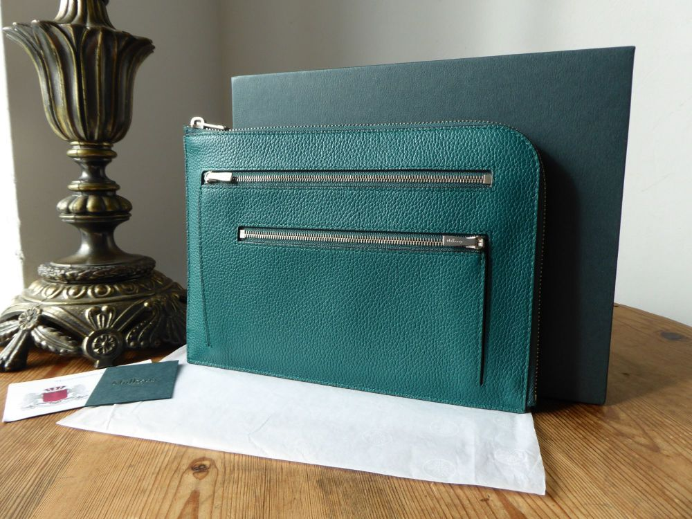 Mulberry Zipped Travel Pouch Case in Ocean Green Small Classic Grain