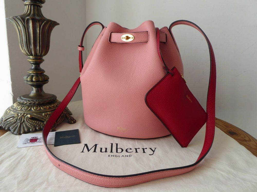 Mulberry Abbey Small Bucket Bag in Macaroon Pink and Scarlet Small Classic