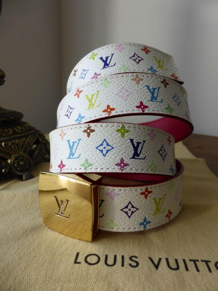 Louis Vuitton Cut Multicolore White and Fuchsia Reversible Belt