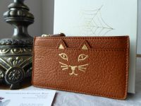 Charlotte Olympia Feline Kitty Small Zip Coin Purse in Oak Leather - As New