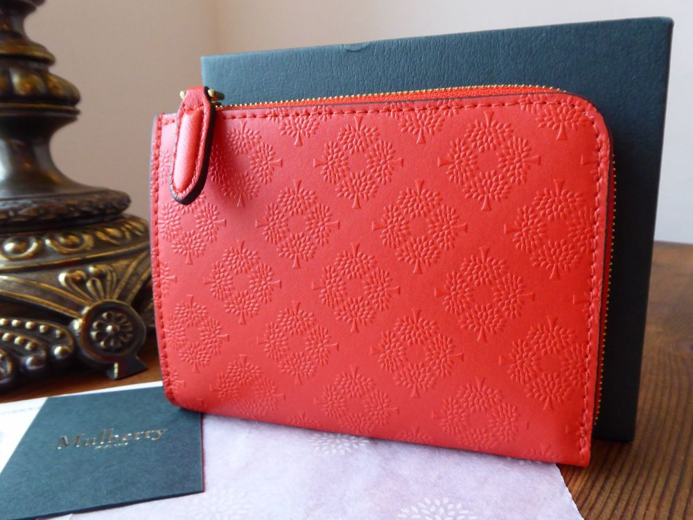 Mulberry Part Zip Around Compact Purse in Fiery Red Tree Debossed Leather -