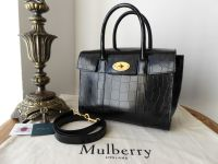 Mulberry Small New Style Bayswater in Black Polished Croc Embossed Leather