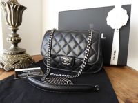 Chanel O Small Quilted Saddle Flap in Black Glazed Lambskin with Ruthenium Hardware