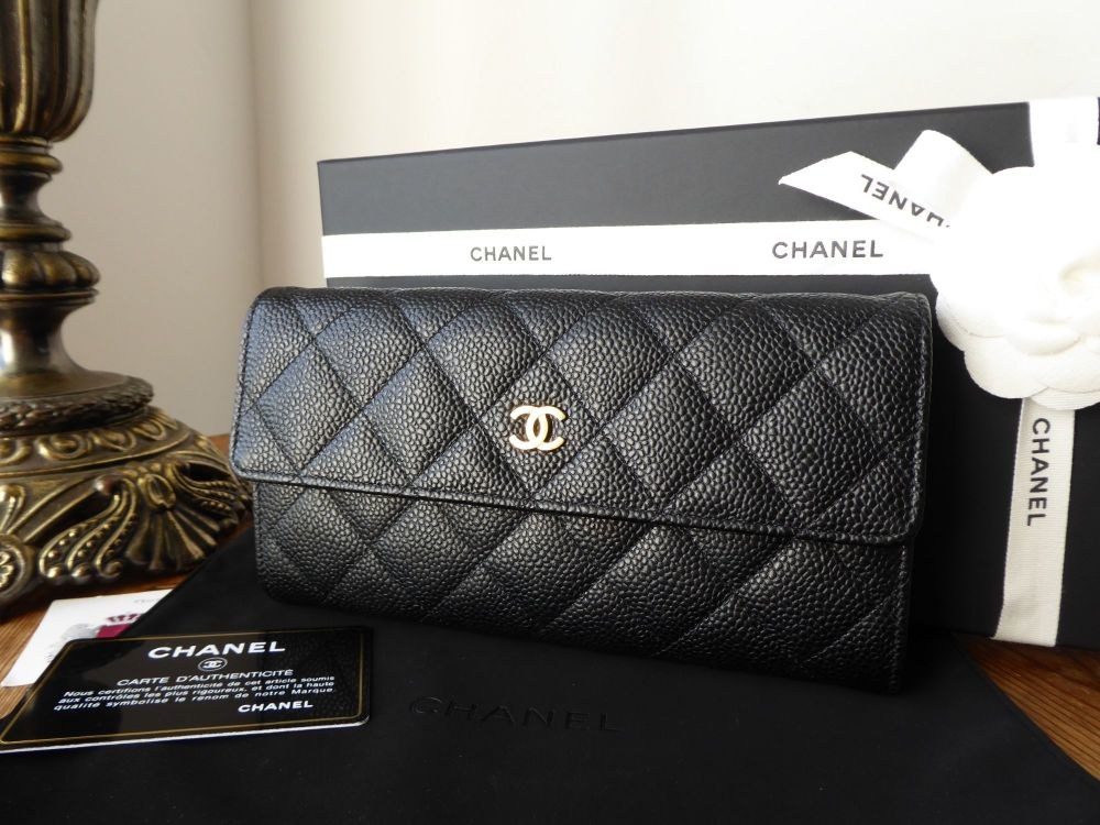 Chanel Classic Continental Flap Wallet in Black Caviar Leather with Gold Ha
