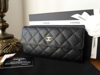Chanel Classic Continental Flap Wallet in Black Caviar Leather with Gold Hardware