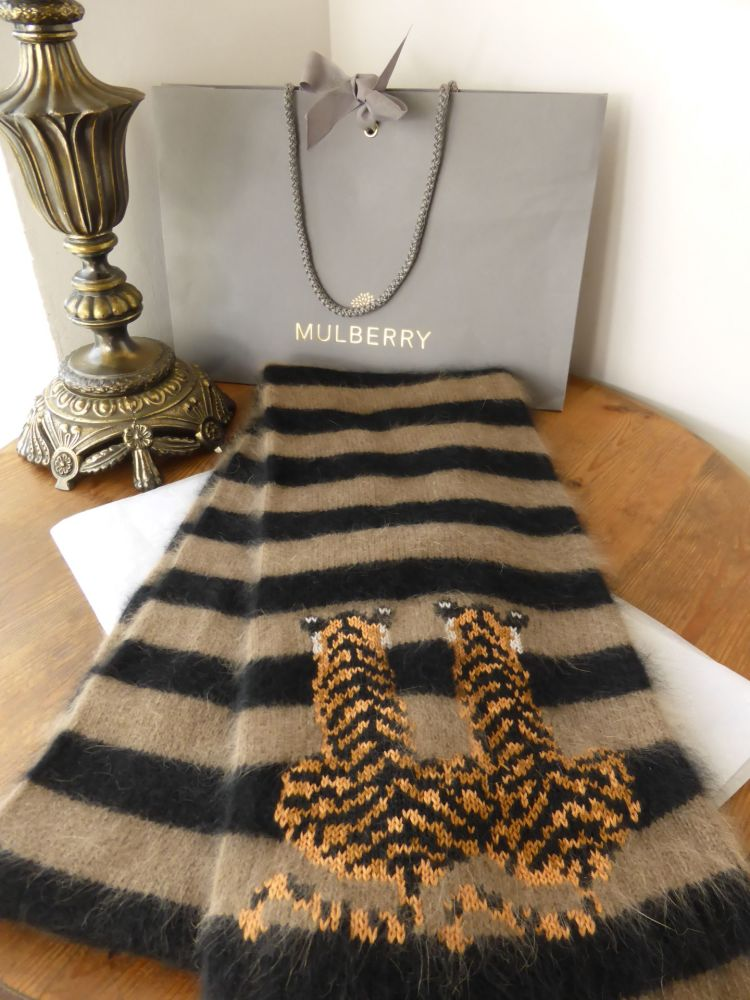 Mulberry Stripey Twin Tigers Angora Blend Winter Scarf - As New