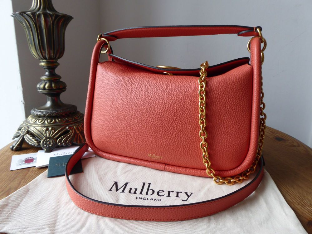 Mulberry Small Leighton in Coral Rose Small Classic Grain - New