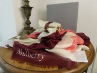 Mulberry 'M' Print Silk Blend Square Scarf in Oxblood, Peach and White - As New*