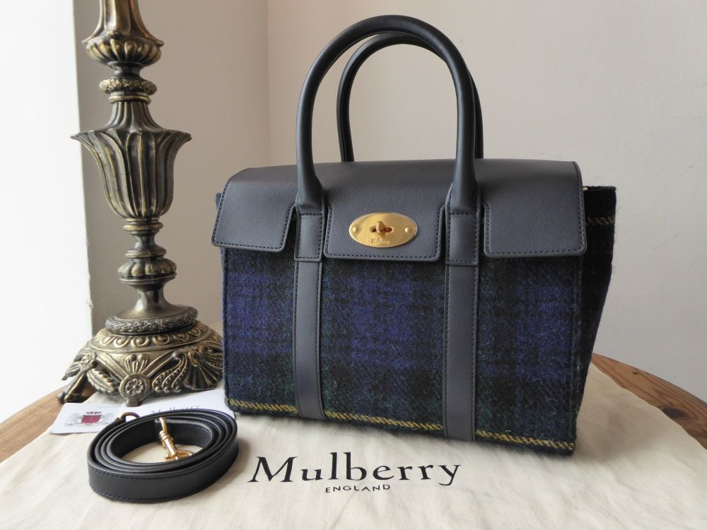 Mulberry Small New Style Bayswater in Navy Tartan Wool