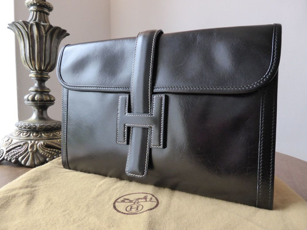 Hermés Jige Clutch in Black Box Calf Leather