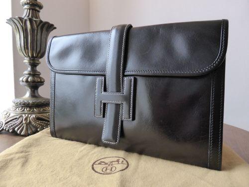 Hermés Jige Clutch in Black Box Calf Leather