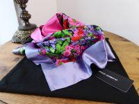 Dolce & Gabbana Meadow Flowers Floral Rectangular Silk Wrap - New*