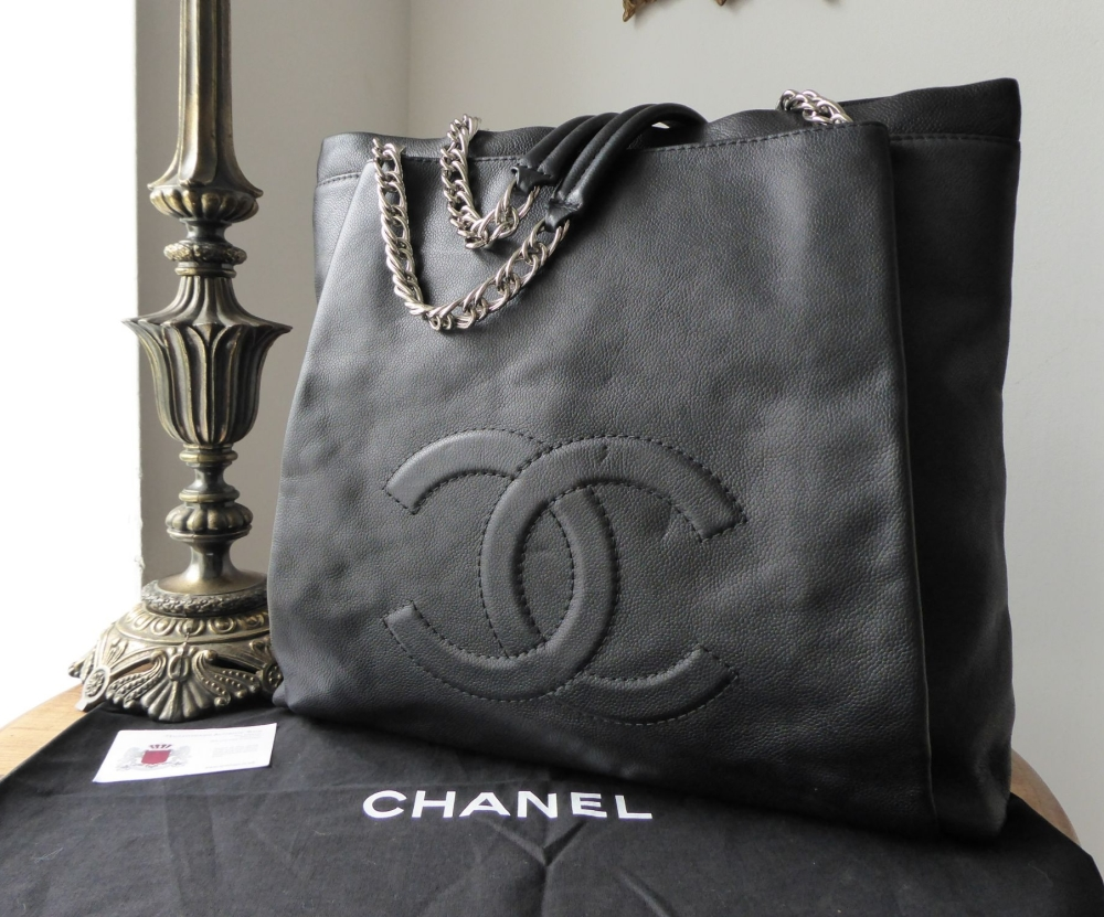Chanel Large Timeless Tote in Matte Black Caviar with Silver Hardware