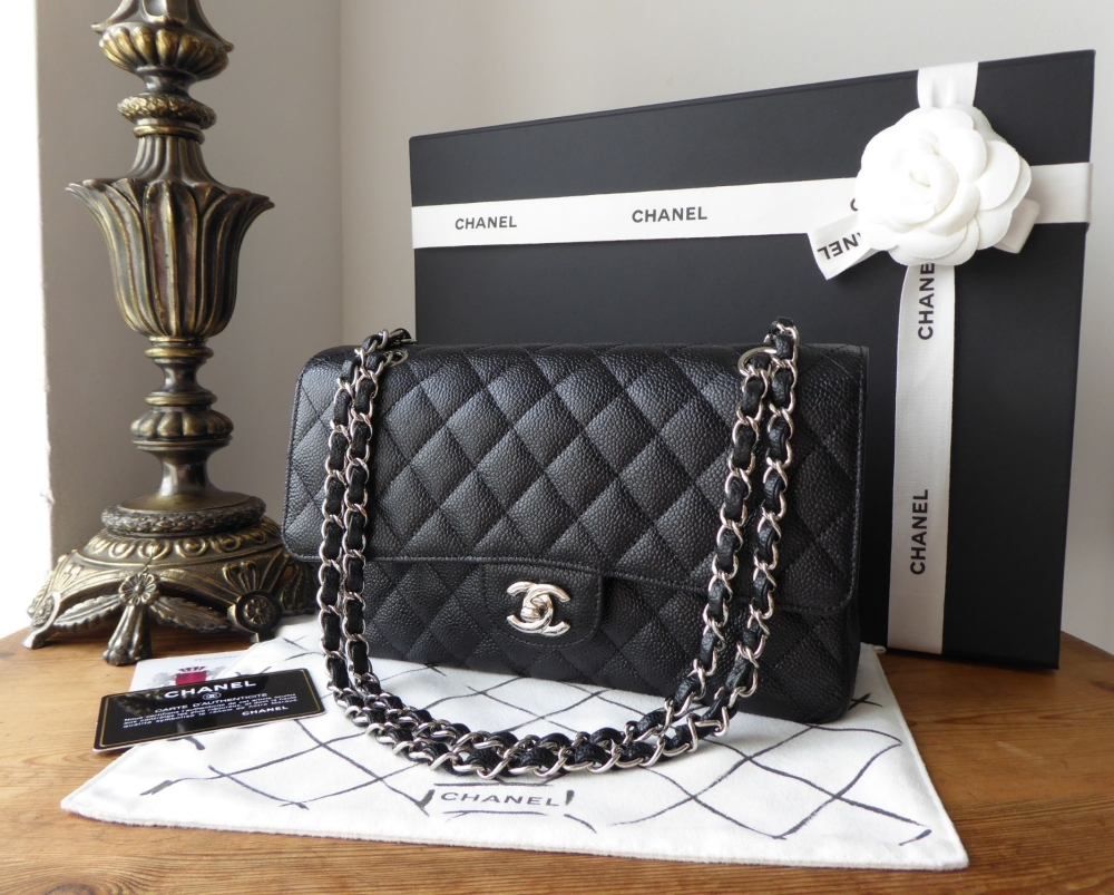 1b3653825aaa7a Chanel Classic 2.55 Medium Double Flap in Black Caviar Leather with Silver