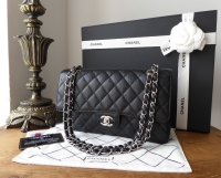 Chanel Classic 2.55 Medium Double Flap in Black Caviar Leather with Silver Hardware - As New*