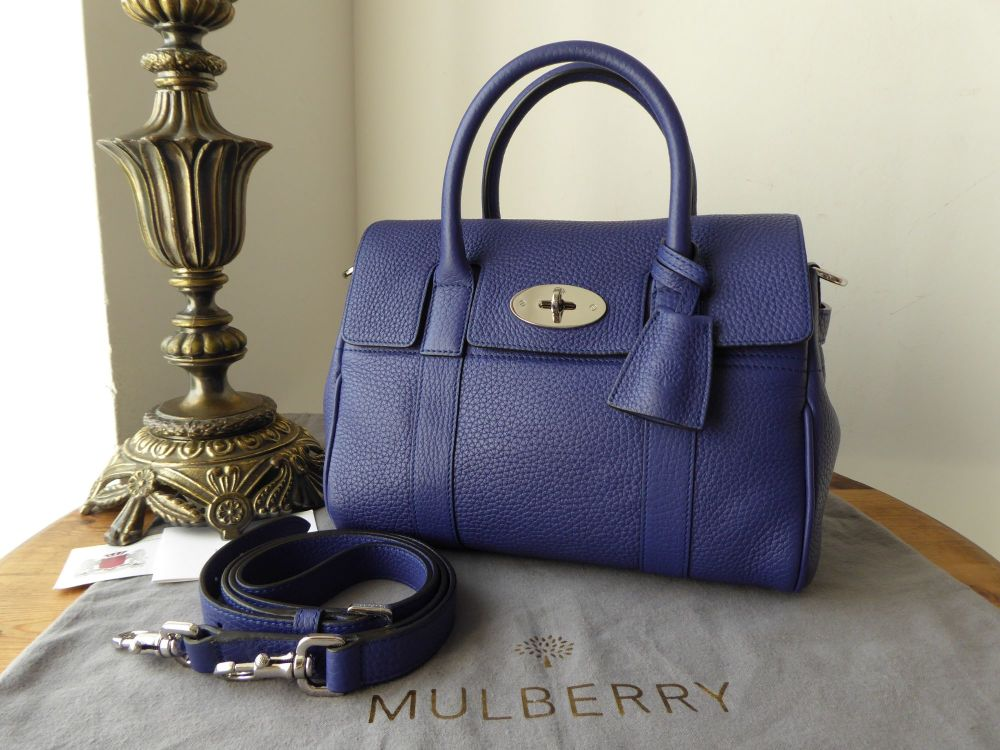 Mulberry Classic Small Bayswater Satchel in Neon Blue Small Classic Grain