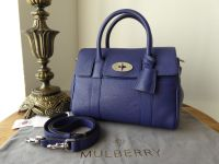 Mulberry Classic Small Bayswater Satchel in Neon Blue Small Classic Grain with Silver Hardware