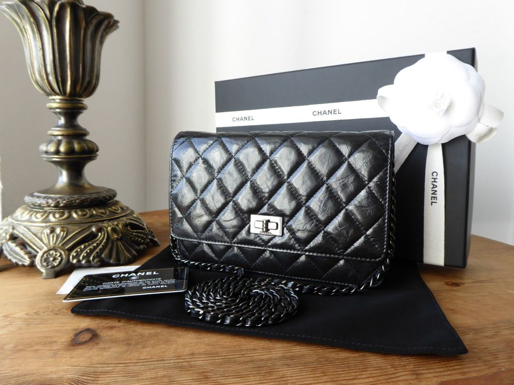 fc0922e1e079 Chanel SO Black Reissue Wallet on Chain WOC in Black Distressed Vernice Cal