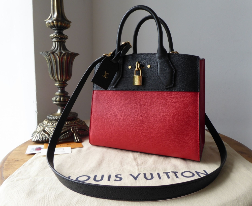 268a5ff2a210 Louis Vuitton City Steamer PM in Taurillion Rouge Noir - As New