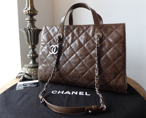 Chanel Crave Tote in Anthracite Brown Crumpled Vernice Calfskin