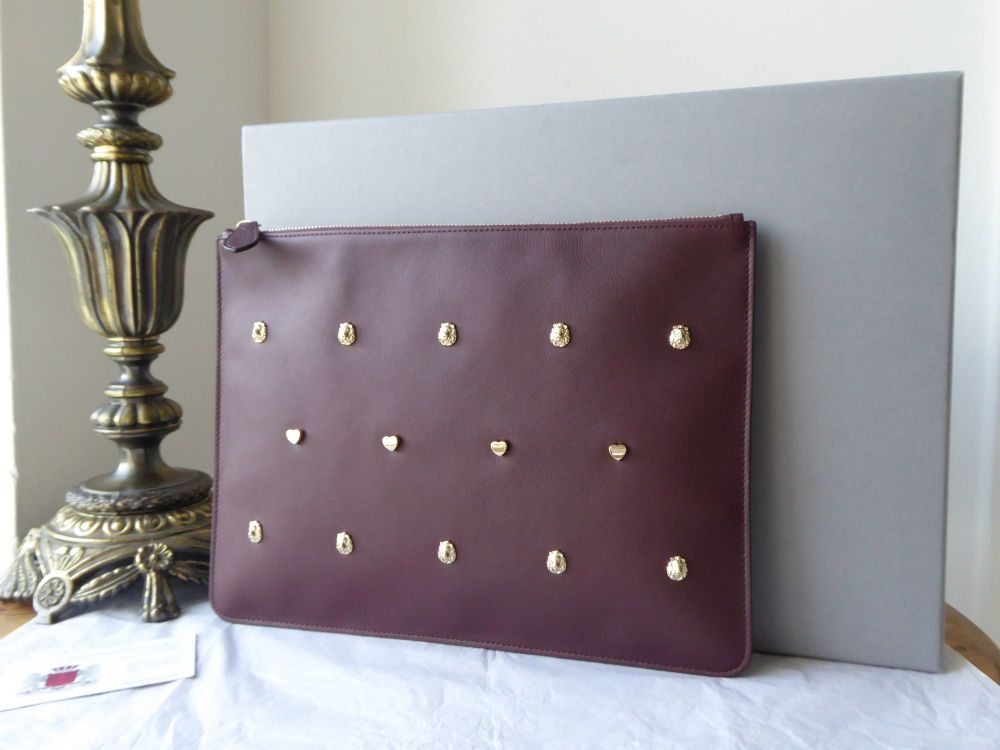 Mulberry Cara 'Lion & Heart Rivets' Large Zip Pouch in Oxblood Silky Calf -
