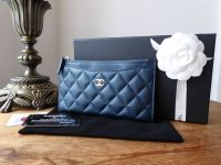 Chanel Small Zip Pouch Purse in Metallic Blue Caviar with Gold Hardware