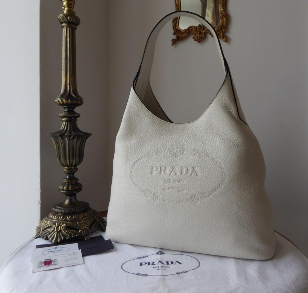 Prada Large Sling Hobo in Bianco Winter White Vitello Daino Calfskin - New