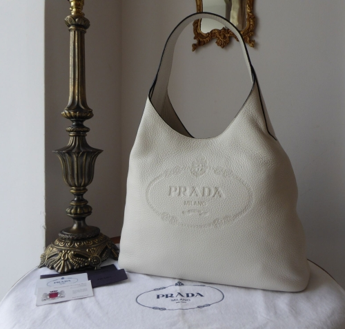 Prada Large Sling Hobo in Bianco Winter White Vitello Daino Calfskin - New