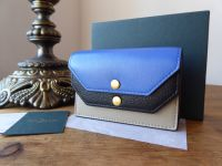 Mulberry Multiflap Multi Card Case Purse in Dune, Porcelaine Blue and Black Smooth Calf - New*