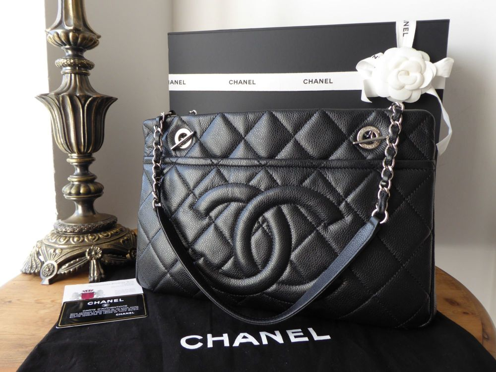 Chanel Timeless Shopping Tote in Black Caviar Leather with Silver Hardware