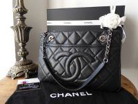 Chanel Timeless Shopping Tote in Black Caviar Leather with Silver Hardware - SOLD