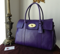 Mulberry Classic Bayswater in Blueberry Glazed Goat with Shiny Gold Hardware.