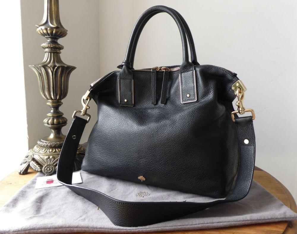 Mulberry Alice Small Zipped Tote in Black Small Classic Grain Leather